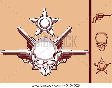 Crânio de faroeste vintage, revólver & distintivo de xerife