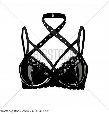 Leather Bra. Latex Sexy Underwear. Black Lingerie. Latex. Bdsm.