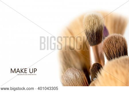 Close up shot of Make up brushes  with copy space