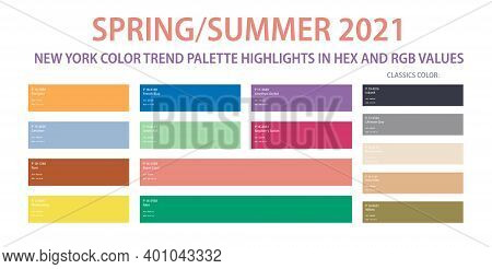Color Trend Palette 2021 Spring, Summer In Hex And Rgb Values. Set Of Year Trend Color For Fashion,
