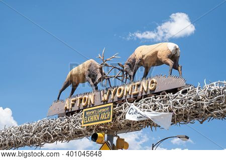 Afton, Wyoming - August 6, 2020: Famous Elk Antler Arch In The Downtown Area Of The Town In The Star