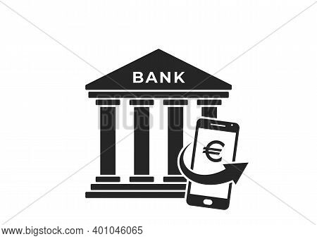 Mobile Banking Icon. Mobile Phone With Euro Sign. Mobile Money, Finance And Bank Symbol