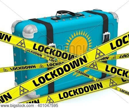Kazakhstan Is In Lockdown. Retro Suitcase With The Flag Of Kazakhstan On A White Surface With Yellow