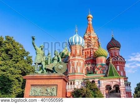 Monument To Minin And Pozharsky And Cathedral Of Vasily The Blessed (saint Basil's Cathedral) On Red
