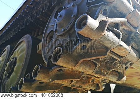 Caterpillar Armored Vehicle. Chassis Tank. Tank Tracks. Close-up.