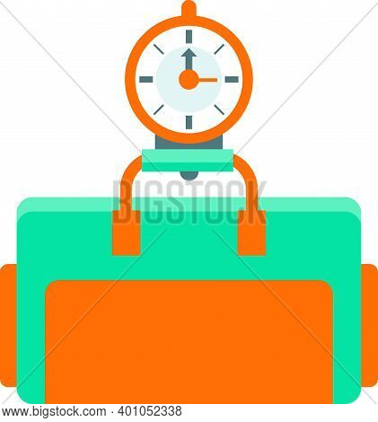 Flat Vector Illustration Of Scales Weigh Travel Bag