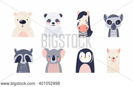 Cute Animal Baby Faces Set Vector Illustration. Hand Drawn Nursery Characters Collection With Polar