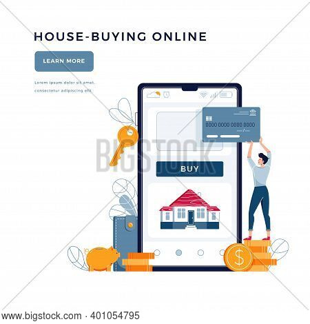 House-buying Online Banner. Man Buys A Home Paying By Credit Card. Dealing House, Property Digital P