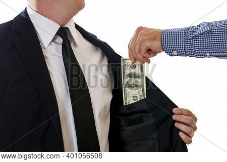 Corrupted Businessman Sealing The Deal With Receiving A Bribe Money. Concept For Corruption, Finance