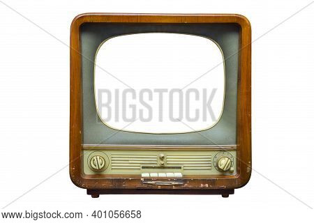 Vintage Television With Cut Out Screen For Mock Up Isolated On White Background. Retro Tv With Woode