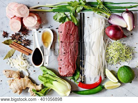 Layout Of Products On Vietnamese Pho Bo Soup On Gray   Background. Traditional Vietnamese Pho Bo Sou
