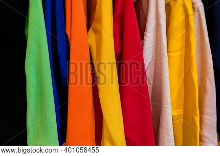 Close Up Colorful T-shirts On Hangers On Turkish Market