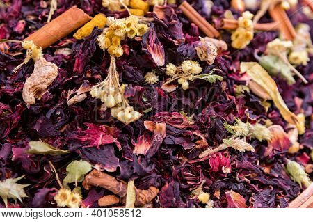 Close Up Dried Colorful Flower Tea Petals At Turkish Market