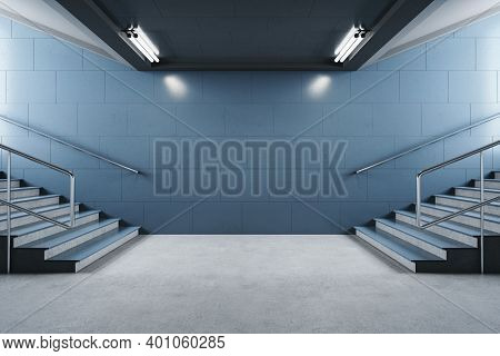 Minimalistic Subway Station With Blank Blue Walls And Staircase. Underground And Urban Concept. 3d R