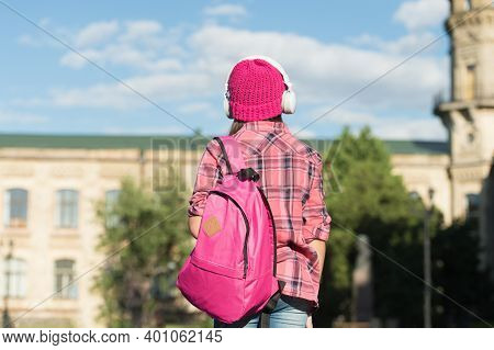 Adventure Is Out There. Little Child Carry Travel Bag Outdoors. Vacation Travel. Summer Holidays. Ex
