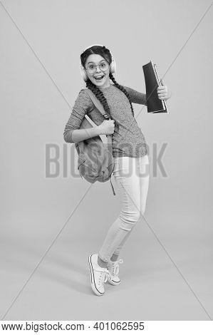 Ongoing Lifelong Education. Feel The Impact. Regular School Day. Stylish Schoolgirl. Girl Carry Back