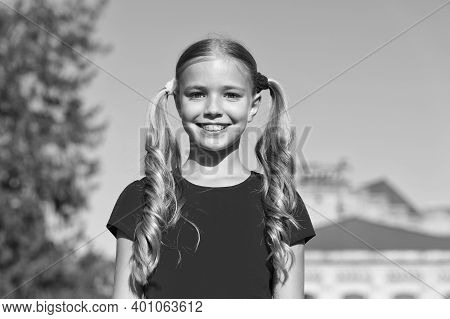 Looking Amazing As Cute Girl. Happy Girl Smile Sunny Outdoors. Little Girl In Summer Style. Beauty L