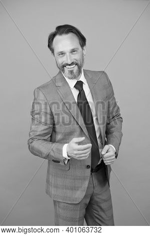 You Are Winner. Mature Employee Wear Formal Suit. Professional Occupation And Career. Business Profe