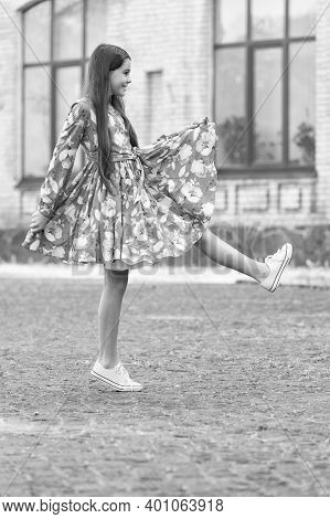 Casual And Beautiful. Happy Girl March Urban Outdoors. Little Child Wear Casual Style. Summer Trends