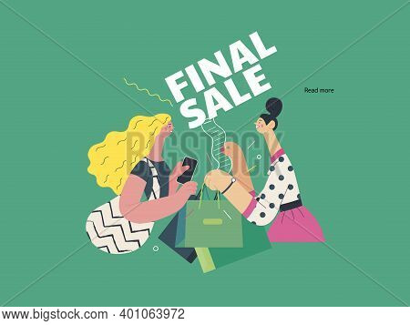 Discounts, Sale, Promotion - Cash Desk - Modern Flat Vector Illustration Concept Of A Customer And A
