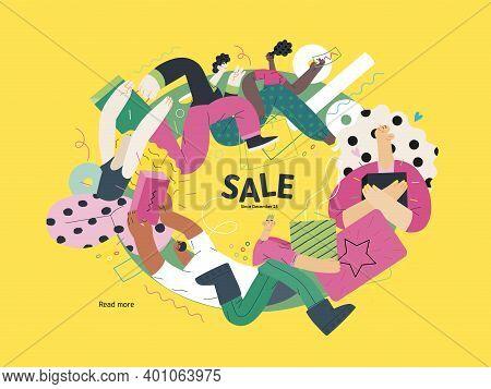 Discounts, Sale, Promotion Vignette - Modern Flat Vector Concept Illustration Of People Crowd Runnin