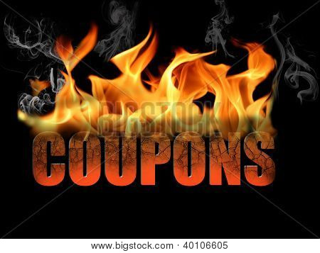Word Coupons In Flame Text