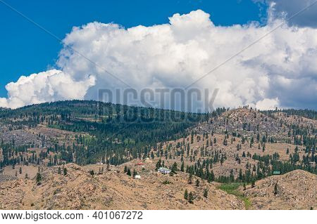 Summer Mountains Landscape On Cloudy Sky Background