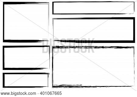 Black Brush Border Rectangles In Vintage Style On White Background. Ink Brush Stroke. Stock Image.
