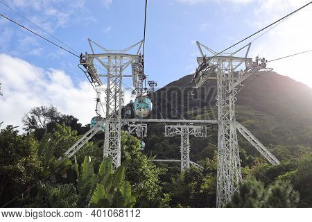 The Ocean Park, Cable Car In Hong Kong 18 Nov 2020