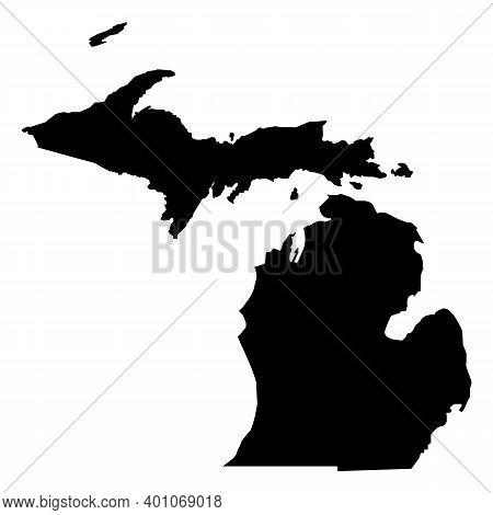 Michigan Map Icon On White Background. Michigan Black State Border Map. Black Map State Usa - Michig