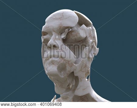 artificial man and erosion in the head, 3d illustration