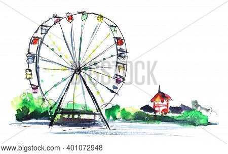 Watercolor Summer Blurred Landscape Of Amusement Park Extracted On White Background. High Ferris Whe