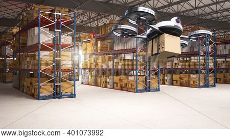 Delivery Drone Delivering The Packages To The Distribution Center And Customers From Warehouse Stora