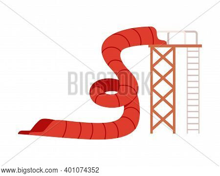 Aqua Park Water Hill With Chute And Slides Flat Vector Illustration Isolated.