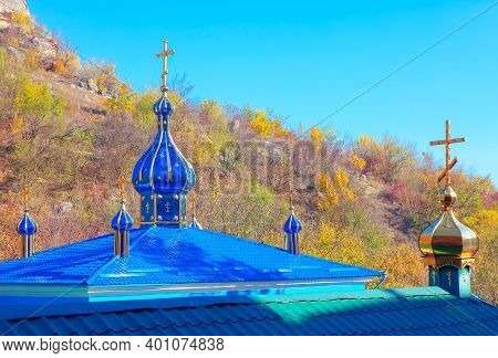 Steeple Rooftop With Dome And Cross . Architectural Details Of Church Roof
