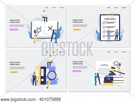 Business Banners Set Of Regulatory Compliance Concept, Flat Vector Illustration.
