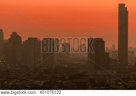 Air Pollution In Bangkok, Thailand. Smog And Fine Dust Of Pm2.5 Covered City In The Morning With Ora