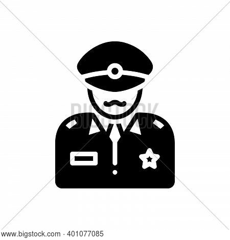 Black Solid Icon For Commander Patriot People Commandant Director Officer Soldier Military Army Defe