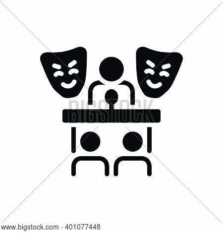 Black Solid Icon For Role Prelude Introduction Foreword Preface Roleplay Pretend Dissemble Mask Audi
