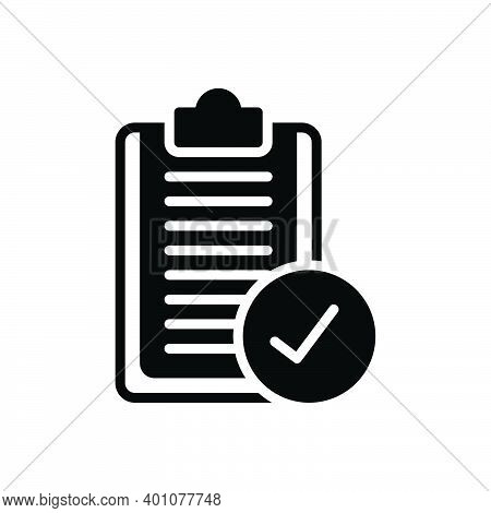 Black Solid Icon For Apply Proceed Form Resume Accept Agreement Checklist Confirm Approved