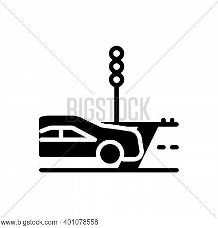 Black Solid Icon For Cross Travel-across Travel Cross-road Path Zebra-crossing Traffic-light Car Tra