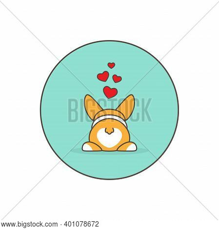 Funny Welsh Corgi Butt With Hearts. Love, Romantic, Amour Icon. Rabbits Couple.