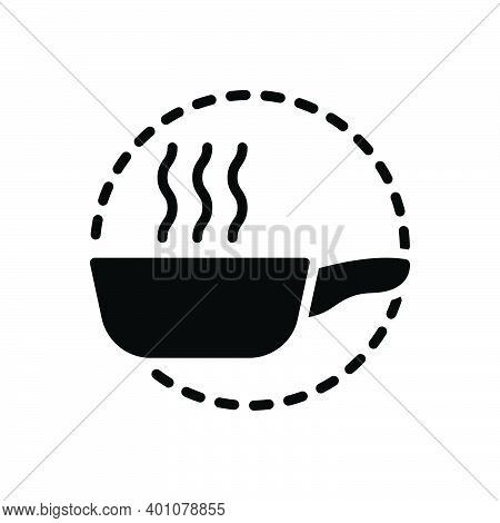 Black Solid Icon For Pan Kitchenware Frying-pan Hot Utensil Vessel Steamship Appliance Cookery Cuisi