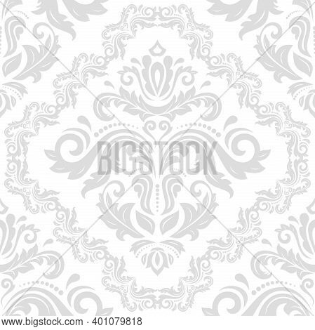 Classic Seamless Light Silver Pattern. Damask Orient Ornament. Classic Vintage Background. Orient Or