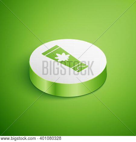 Isometric Medical Cream With Marijuana Or Cannabis Leaf Icon Isolated On Green Background. Mock Up O