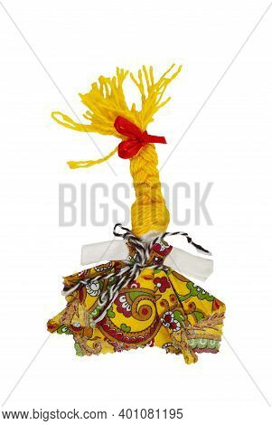 Traditional Russian Fabric Doll. A Doll In A Multi-colored Dress And With Yellow Hair. Home Amulet A