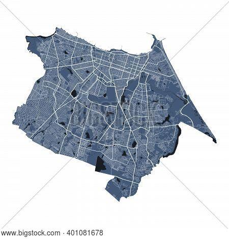 Fortaleza Map. Detailed Vector Map Of Fortaleza City Administrative Area. Cityscape Poster Metropoli