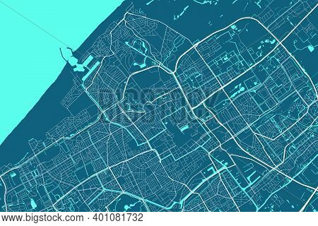 Detailed Map Of Hague City Administrative Area. Royalty Free Vector Illustration. Cityscape Panorama