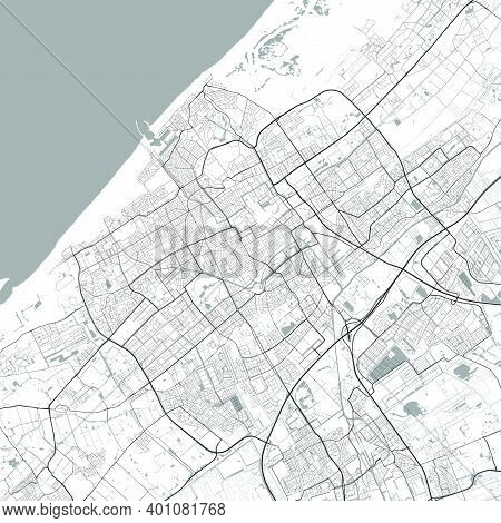 Urban City Map Of Hague. Vector Illustration, Hague Map Grayscale Art Poster. Street Map Image With