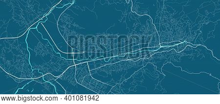 Detailed Map Of Sarajevo City Administrative Area. Royalty Free Vector Illustration. Cityscape Panor